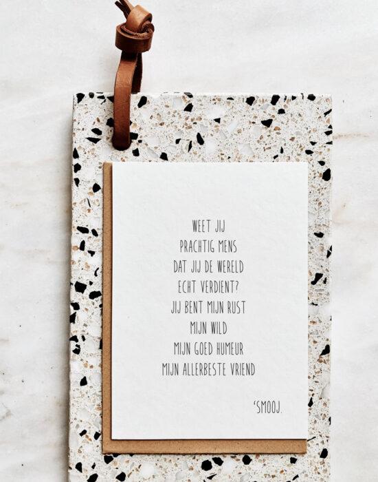Gedichtje 'Smooj': Weet jij prachtig mens