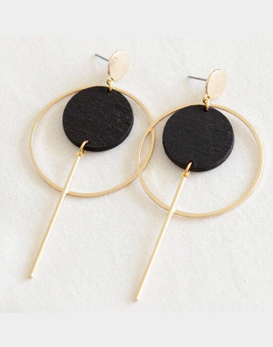 Studio NokNok: oorbellen grote cirkel en staafje zwart